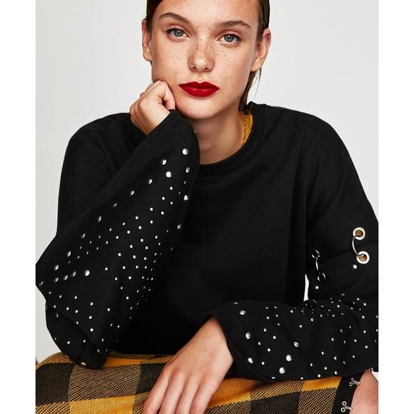 8e0c49f2 Zara Sweaters   Black Sweatshirt With Studs Hooks   Poshmark